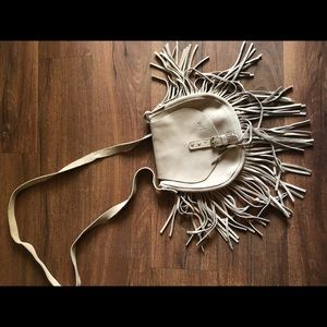 Suede Tan cross body bag with fringe